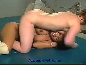 academywrestling Topless female wrestling with scissor