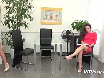 Wet Day In The Office For Naughty Lesbians