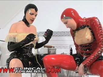 Clinical torment lesbian latex electro play medical