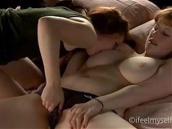 Wonderful girl on girl sucking and biting her tit